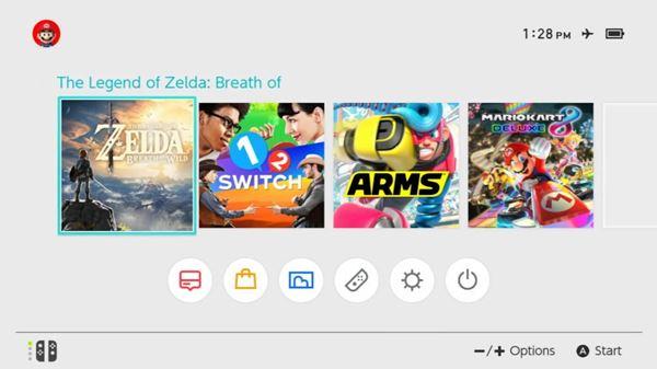Switch main menu showing Zelda selected
