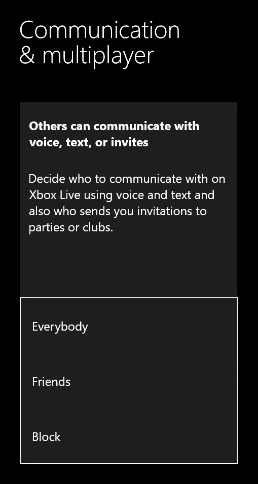 Voice and text communication settings showing in Xbox Live privacy settings.