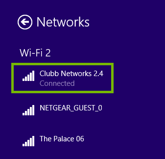 Network page highlighting the connected Wi-Fi network.
