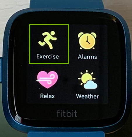 The exercise app selected on a Fitbit screen.