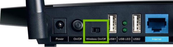 Wi-Fi toggle switch highlighted on rear of router.