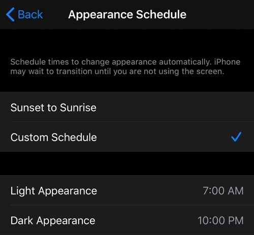 Dark mode Appearance Schedule screen in iOS settings.