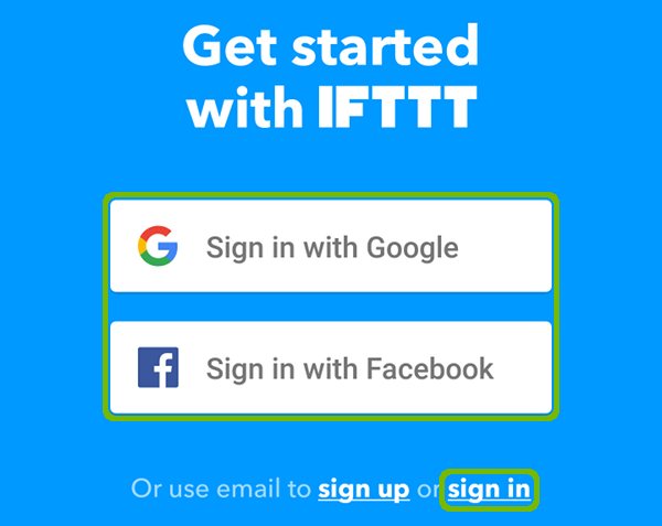 IFTTT sign in selection.