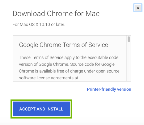 Chrome Terms of Service with Accept and Install highlighted.