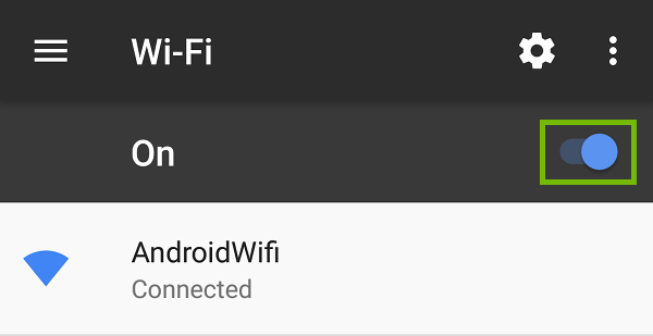 Wi-Fi settings with switch highlighted.