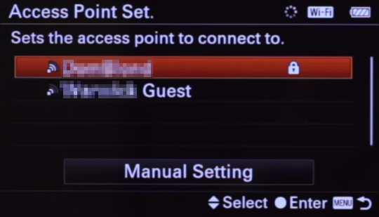 Camera wireless network list screen