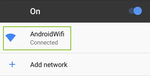 Wi-Fi Settings with Network highlighted