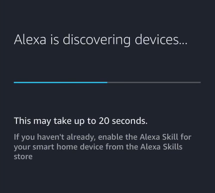 Device discovery waiting screen in Alexa app.