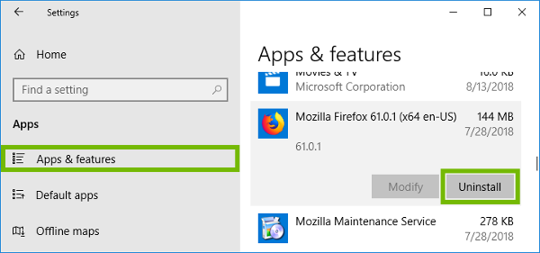 Windows Apps and features with Uninstall highlighted.