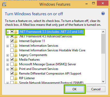 Windows Features dialog with .NET Framework 3.5 and OK button highlighted.