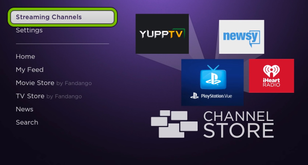 Streaming Channels options highlighted in Roku menu.