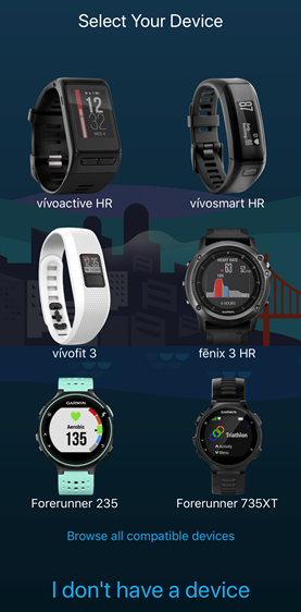 Garmin Connect app with list of compatible devices. Screenshot.