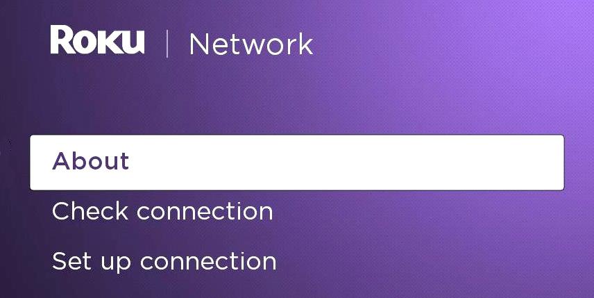 Roku TV about network menu.