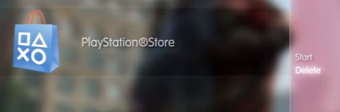 PlayStation Store with Delete selected. Screenshot.