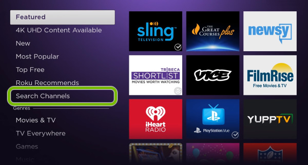 Search Channels option highlighted in Roku Streaming Channels store.