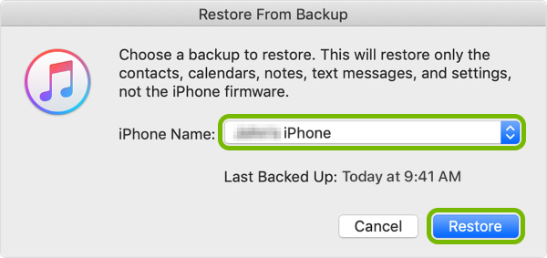 Backup selection and Restore button highlighted in iTunes popup.