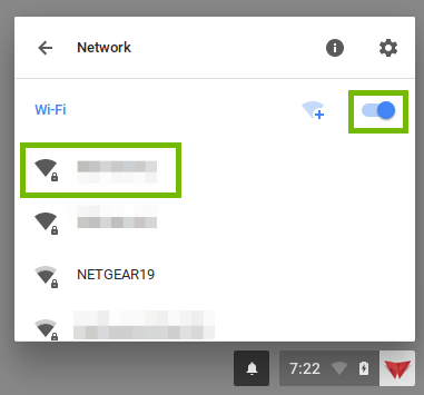 screenshot of Wi-Fi settings with the on off switch and a network highlighted