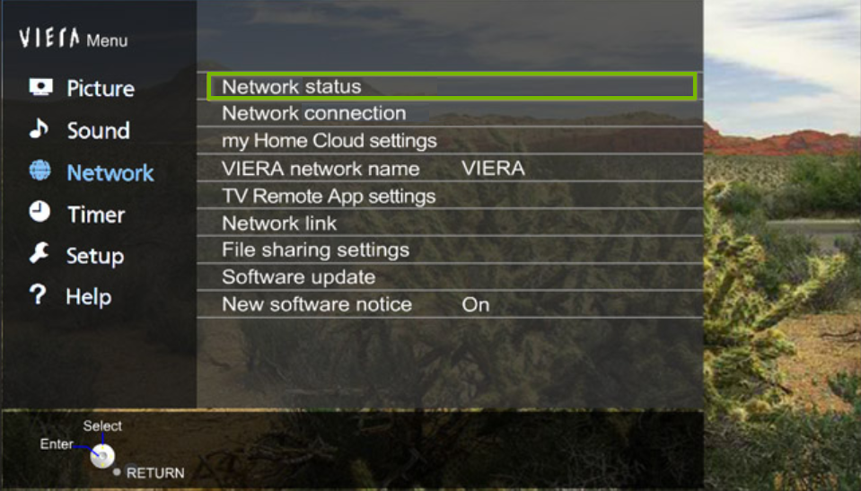 Panasonic Network Status. Screenshot