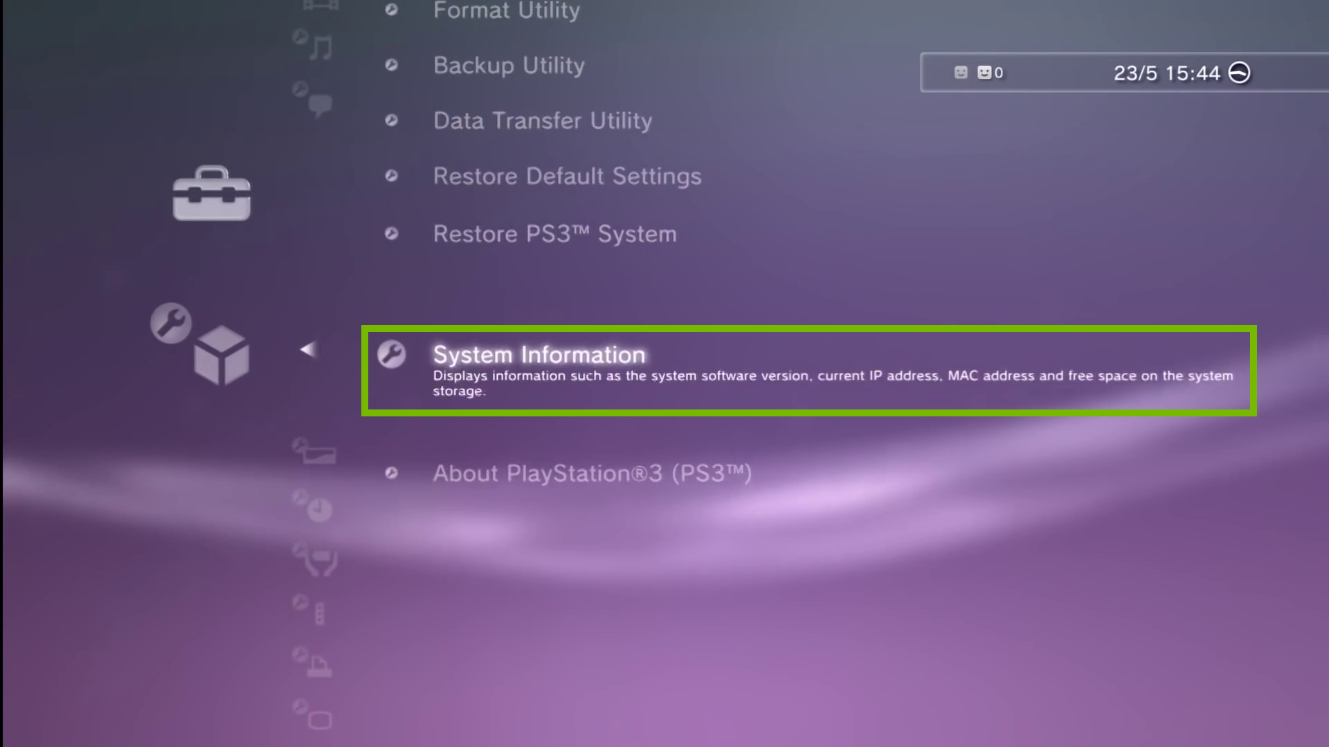 System Settings with System Information selected. Screenshot.