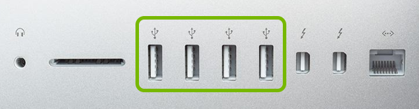 USB ports highlighted on Mac.