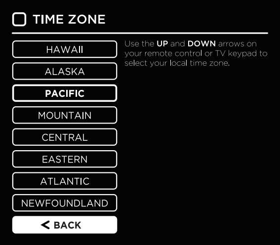 Time zone selection in setup wizard