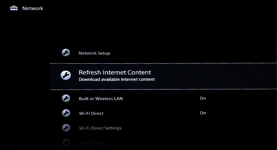 Network screen with refresh internet content highlighted