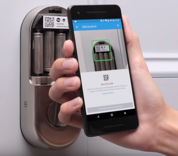 Scanning your x Yale QR code with smartphone.