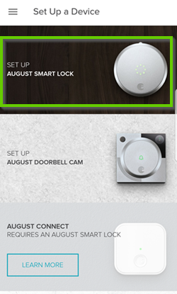 Android set up screen with August Smart Lock selected