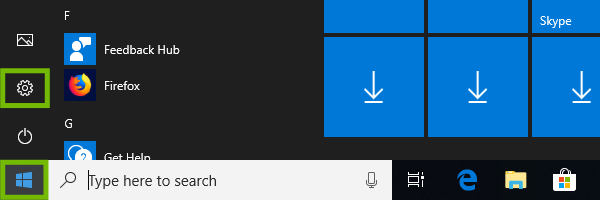 Start menu with Settings highlighted.