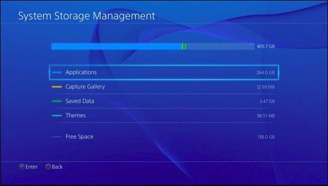 System Storage breakdown between Applications, saved games, themes, captured data and free space. Screenshot.