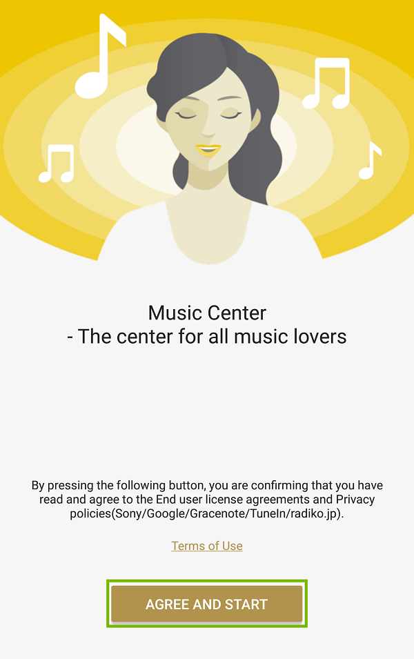 Music Center app first page with Agree and Start highlighted.