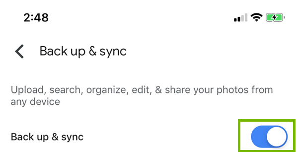 Switching backup and sync to on