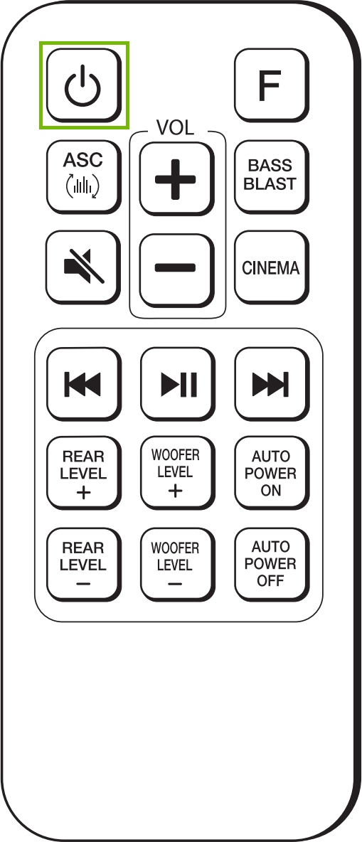 Diagram of remote with Power highlighted