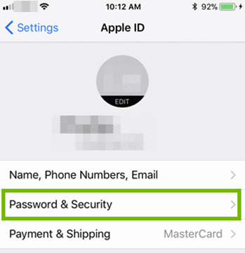 Apple ID menu showing passwords selected