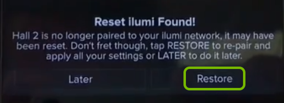 Restore option highlighted in ilumi app for reset smart bulb.
