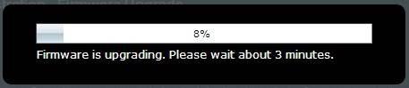 Firmware upgrade progress bar. Screenshot.