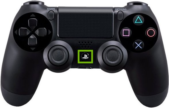 DualShock 4 Controller with PS button highlighted.