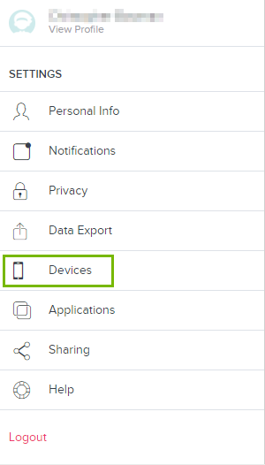 Devices highlighted on fitbit dashboard. Screenshot