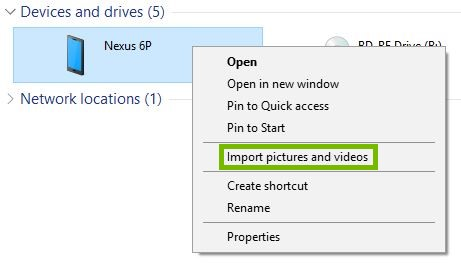 File Explorer context menu with Import photos and videos highlighted