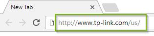 Web browser address bar, showing URL to tp-link website. Screenshot.