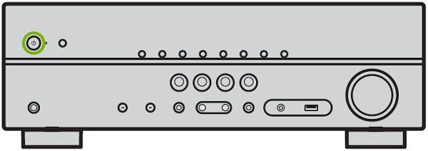 Yamaha rxv383 Power button. Illustration