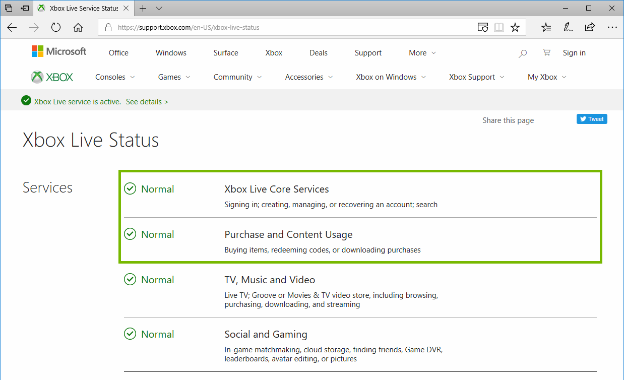 Xbox Live Status web page highlighting the current Service status.
