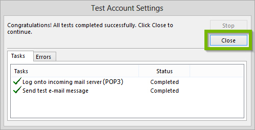 Test account settings.