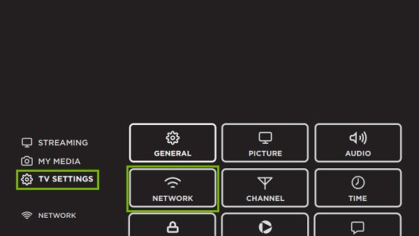 TV Settings, Network. Screenshot