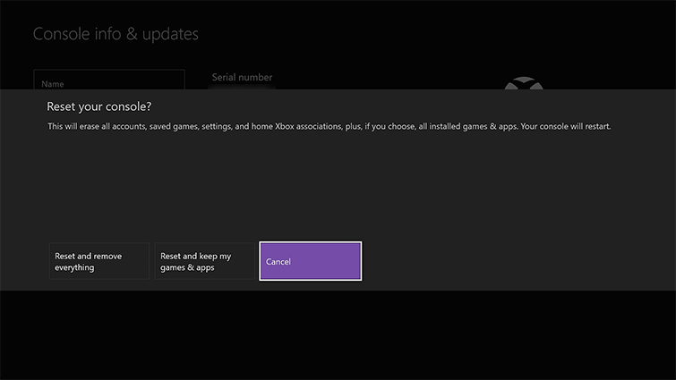 Reset console screen with reset options. Screenshot.