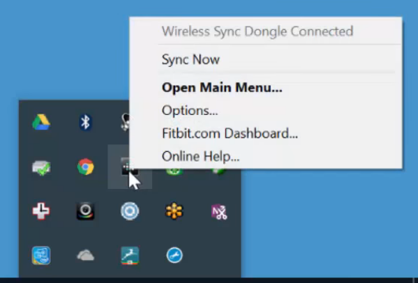 Windows 10 system tray displaying the right-click menu for the FitBit app.