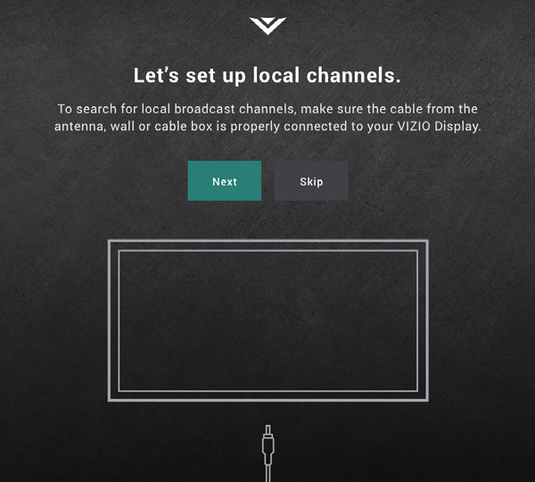 Channel scanning screen showing during VIZIO TV initial setup.