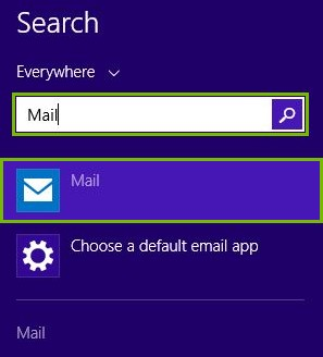 Search bar with Mail entered and Mail app highlighted below the search bar