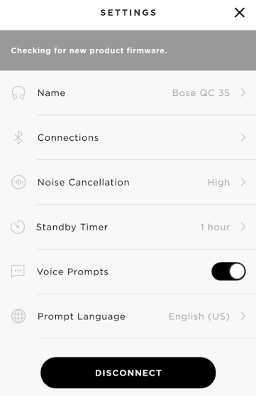 Bose connect app displaying current speaker settings.