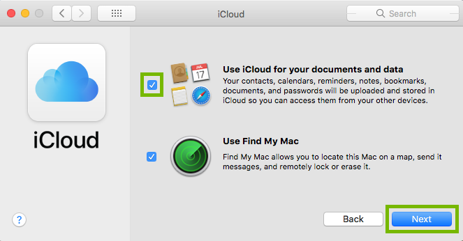 use icloud for your documents and data box is highlighted with the next button highlighted